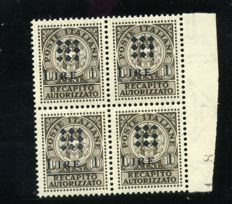 Italy, 1945 – Guidizzolo – Authorised delivery stamp, with black overprint, in block of four – Sass. No. 1