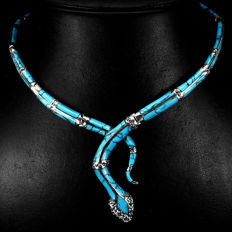 Unique Turquoise, Marcasite, Ruby 925 Sterling Silver necklace