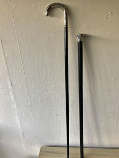 2 wooden walking sticks with silver knob and handle - c. 1910