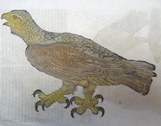 One leaf with 3 ornithological wood blocks - Conrad Gesner - Birds: Eagles - 1669