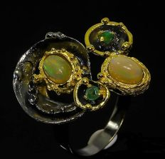 Sterling ring with Welo Opal and Emerald