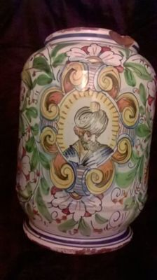 Majolica apothecary vase made in Pesaro in the 19th century