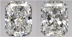 Pair of  Radiant  Brilliants 1.02ct total  E IF- E IF  GIA - Original image 10EX #2255-2254
