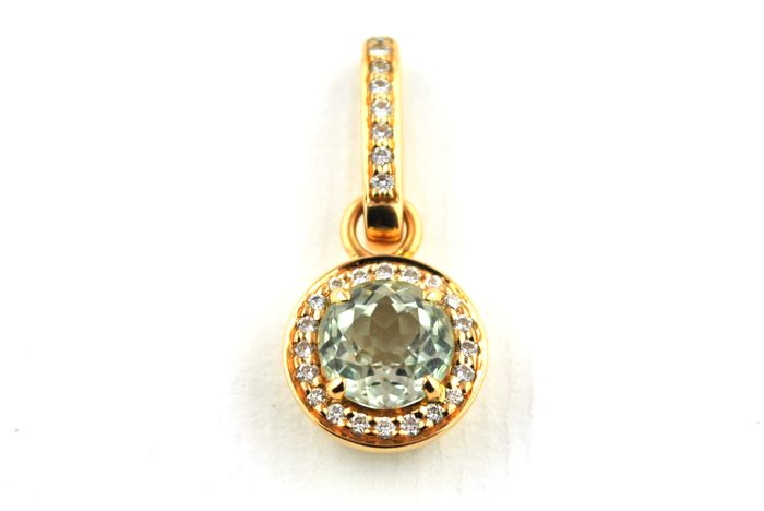 Topaz & Diamond (+/-0.85CT) Pendant set on 18k/750 Pink Gold - Size 31mm x 13.5mm