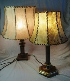 2 Brass Lamps with Leather Shades