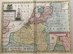 The Netherlands, Belgium, Luxembourg; Edward Wells - A New map of the Netherlands (..) - ca. 1700