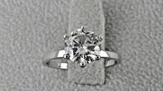 1.42 ct  round diamond ring made of 14 kt white gold - size 6