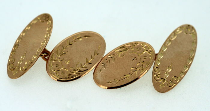 9K yellow gold, double men's cuff links, 2, J Aitkin & Son