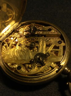 Unknown origin - pocket watch with engraved skeleton movement - ca 1850