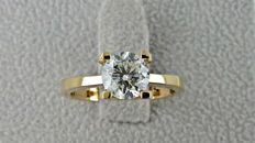 1.20 ct VS2 round diamond ring made of 14 kt yellow gold - size 6,5