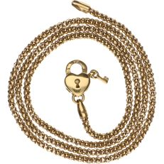 14 kt Yellow gold popcorn link necklace with a padlock clasp with a key - Length: 45 cm.