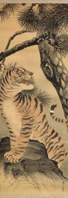 Antique handpainted hanging scroll on cloth of a 'Roaring Tiger' (204cm) - Japan - ca. 1900/1920
