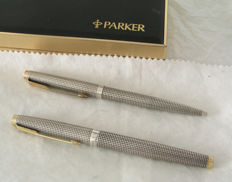 fountain and ballpoint set Parker 75 cisele' in sterling silver