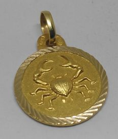 18 kt yellow gold pendant - Cancer star sign