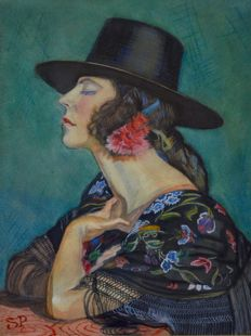 Spanish School. (20th century) - A Spanish lady in a black hat.