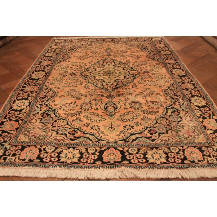 Magnificent hand-knotted silk carpet, cashmere silk carpet, Qom, natural silk, 180 x 120 cm, made in Kashmir