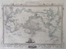World; John Tallis - The World on Mercators Projection Shewing the Voyages of Captain Cook Round the World - 1851