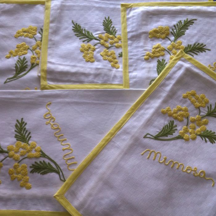 Eight American place-mats with napkins - mimosa embroidery