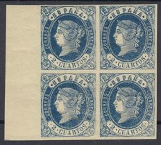 Spain 1862 - Isabel II, 2 blue quarters.  Block of 4 stamps - Edifil 57.