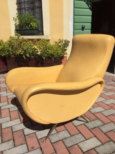 Unknown designer - vintage lounge chair in natural leather