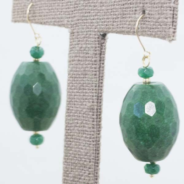 Gold 18 kt Faceted Emerald Earring - 41x15 mm