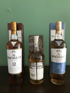 3 bottles - Macallan 12 Sherrywood, Macallan 12 Fine Oak & Douglas Laing's Double Barrel 8 years old Macallan/Laphroaig