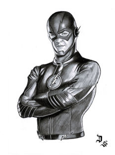 The Flash By Diego Septiembre - Original Charcoal And Graphite Drawing