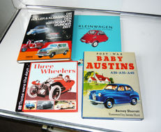 Four fine books of famous and funnny small cars, three wheelers and scooters. Do not miss the book of Baby Austins. All original,  as new and unread.