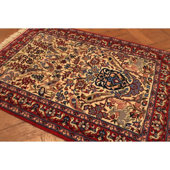 Very fine Persian carpet, Isfahan, cork wool on silk, approx. 1,000,000 knots, circa 1950, made in Iran, 105 x 75 cm