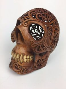 Hand carved Human skull - Tribal style carving - Norse Mythology, The Helm of Awe - Teeth made from buffalo bone