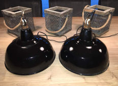 Designer unknown - Two enamel industrial factory lamps, new old stock.