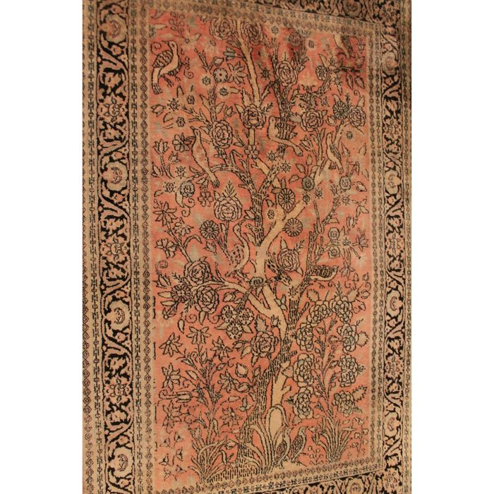 Magnificent hand-knotted silk carpet, cashmere, silk carpet, Qom, natural silk, 160 x 95 cm, made in Kashmir