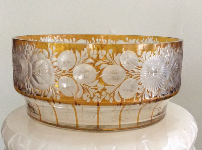 Bohemian amber colored bowl, early 20th century