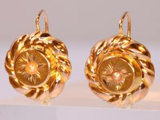 Pearl gold antique Victorian earrings - anno 1880 - **without reserve price**