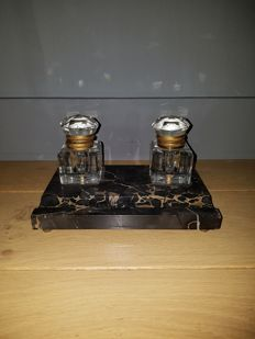 Marble inkstand with crystal jars
