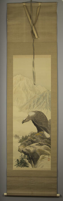 Scroll painting, Eagle, in original case - Japan - first half 20th century