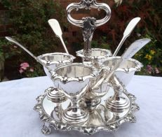 Beautiful silver plated 4-piece eggcup set with spoons, Georgian Style, c. 1830