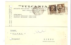 Italy, 1944 – 30 cents Propaganda, type IV with GNR overprint from Brescia, type III on postcard from Brescia to Gorno – Sass. No. 20/II