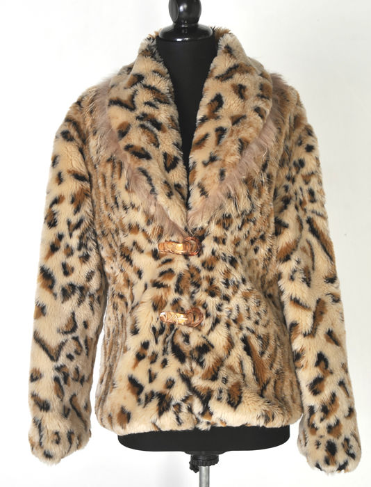 Max Mara animal print faux and real fur coat