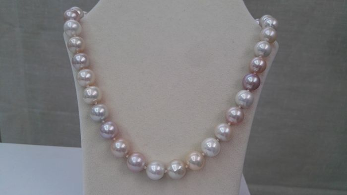 Necklace Cultured Pearls quality AAA multicolour natural 11-13 mm
