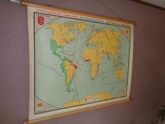 Old intact school map/school poster (World map) Expeditions - Dutch East Indies and West Indies Company