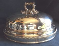 Large antique Georgian silver plated food cover, circa 1820