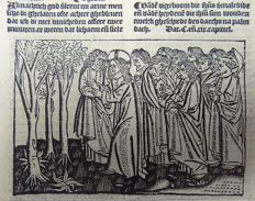 Master of Delft - Incunabula woodcut leaf from Vitae Christie with woodcut and woodcut initial - Invruchtbara vigeboom - Parable of the Barren Fig Tree - 1488
