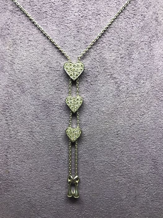 Necklace 3 heart gold 18K - diamonds 1 carats