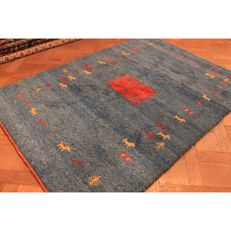 Handwoven carpet, Gabbeh, made by nomads, wool on wool, made in India, 175 × 120 cm