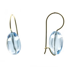 18 kt yellow gold - Earrings - Blue topaz - Earring height: 26.90 mm