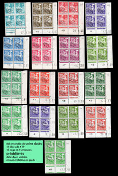 France 1954/1959 - Precanceled dated corners - Yvert no. 106 to 122