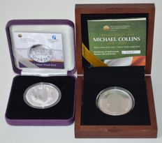 Ireland - 10 Euro 2010 Gaisce 25 Years and 2012 Michael Collins 1890–1922 (2 different coins) - silver and coloured