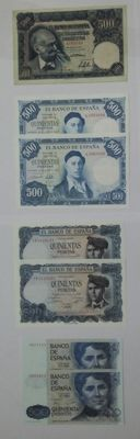 Spain - Lot of banknotes of 500 pesetas - 1951 pick 141, 1954 pick 149, 1971 pick 155 and 1979 pick 161