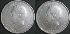 Portugal – 500 Reis 1888 and 1889 Luís I (2 moedas) – silver